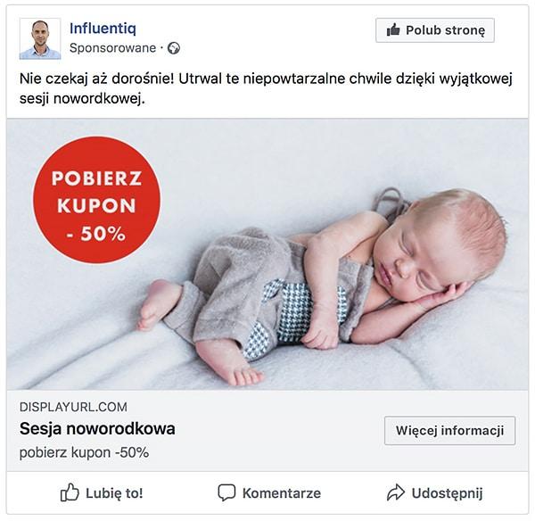sesja noworodkowa reklama facebook