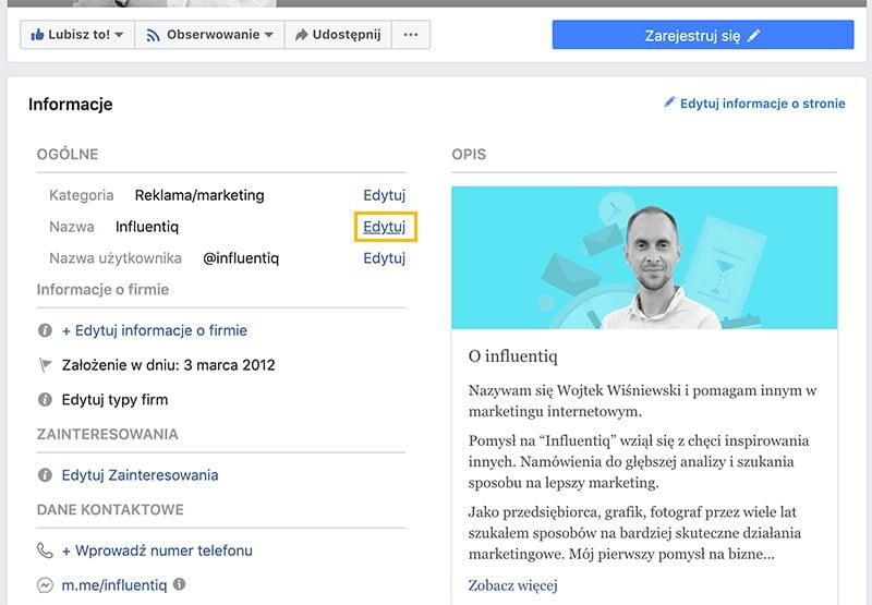 zmiana nazwy strony na fb